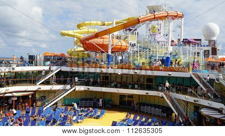 Water slides on the Carnival Breeze docked in Miami, Florida