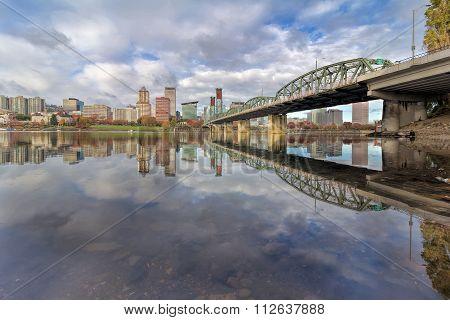 Reflection Of Portland Skyline Daytime