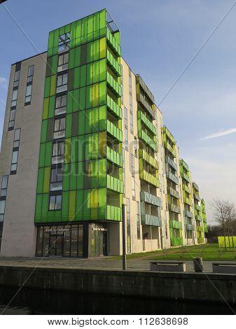 Green Coloured Block Of Flats