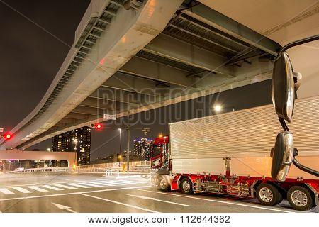 Stopped semi trailer truck