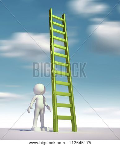 3d people - man person and a ladder - stair. poster