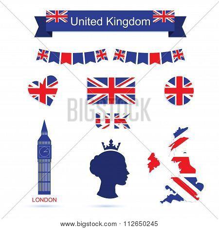 United Kingdom symbols. UK flag icons set.