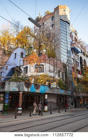 Vertical Street-view With Hundertwasser House