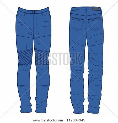 Unisex Outlined Template Jeans Front & Back View