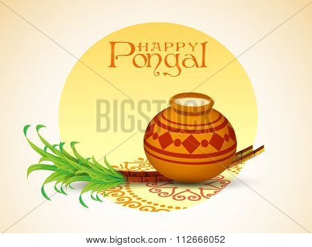 South Indian Harvesting Festival, Happy Pongal celebration with traditional mud pot full of rice and sugarcane on colorful rangoli.