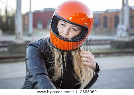 Girl With Motorcycle Helmet
