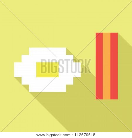 Pixel bacon and egg vector icon