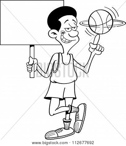 Cartoon basketball player holding a sign.