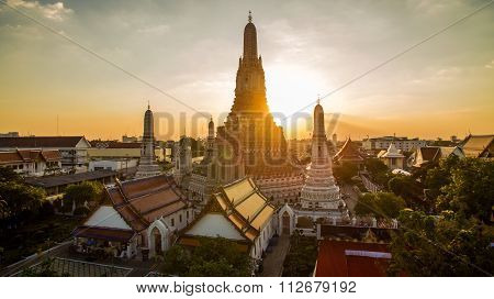 Wat Arun Temple Important Landmark Destination Of Tourist Traveling In Bangkok Thailand