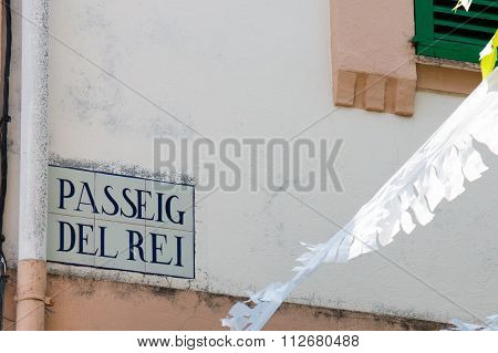 Passeig Del Rei Sign In Esporles, Majorca, Spain