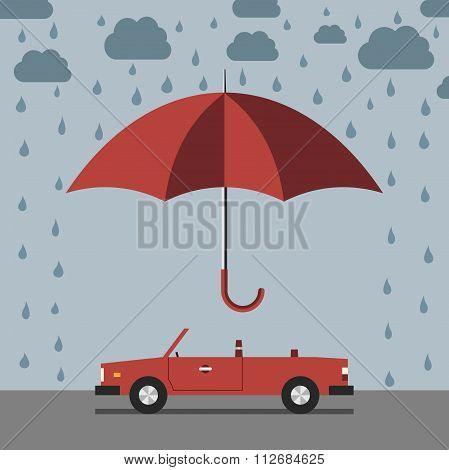 Car, Umbrella And Rain