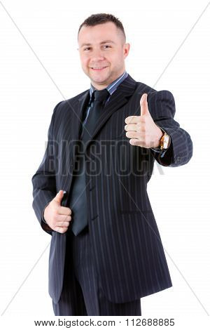 Half-length Portrait Of Businessman Show Thumb Up, Focus On The Hand, Isolated On White.