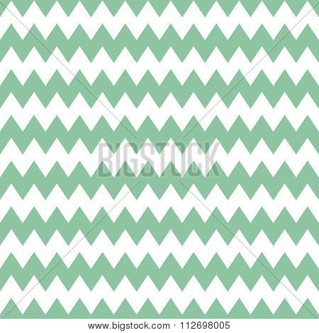 Tile vector pattern with mint green zig zag on white background