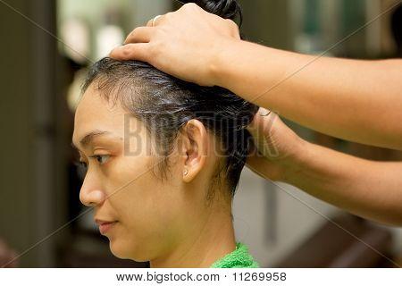 Woman Hair Treatment At Salon