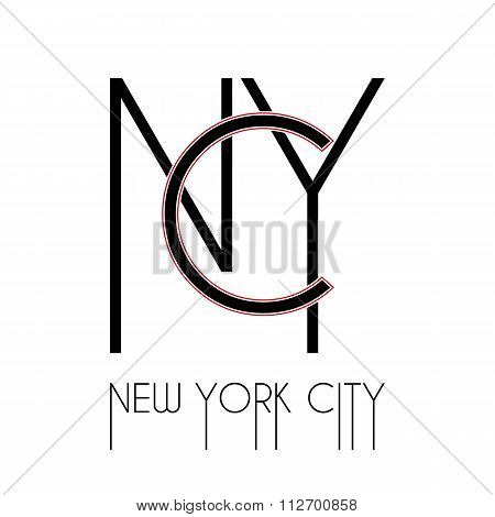 New York typography, t-shirt graphics.