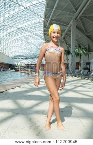 ESTOSADOK, RUSSIA - AUGUST 1,2014: girl in a swimsuit at the pool (with model release)