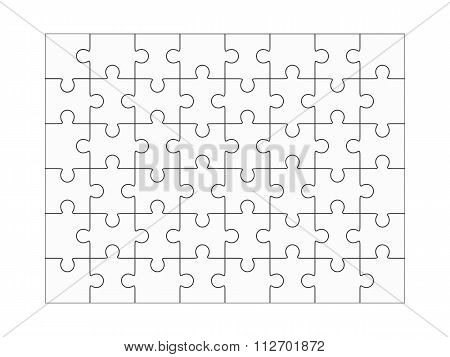 Jigsaw Puzzle Blank 6X8 Elements, Fourty-eight Vector Pieces.