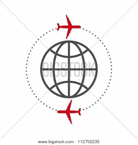 Vector illustration of icon plane and the globe