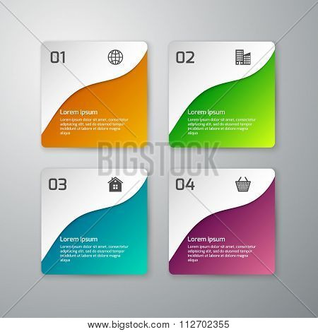 Vector illustration infographics paper squares