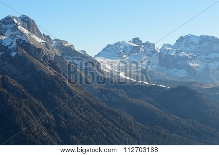 The View On Dolomiti Mountains And Ski Slope Of Passo Groste Ski Area, Madonna Di Campiglio, Italy