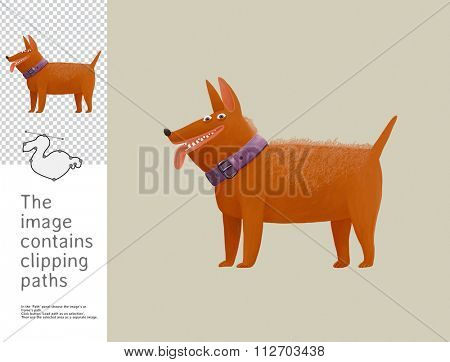 The illustration of a merry dog.  A part of Dodo collection - a set of educational cards for children. The image has clipping paths and you can cut the image from the background.