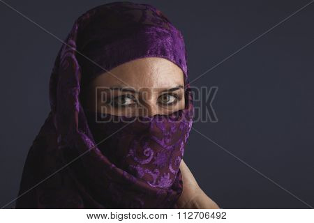 religious, Beautiful arabic woman with traditional burqa veil