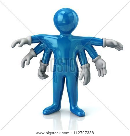 Blue Cartoon Character Man With Six Hands