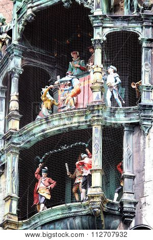 Glockenspiel On The City Hall Of Munich, Germany