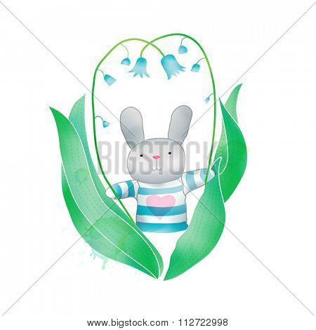 Vector Watercolor Floral background With Hand Painted bunny. Watercolor valentine card. Text Frame.  Template for wedding, valentine day, mothers day, birthday, invitations.