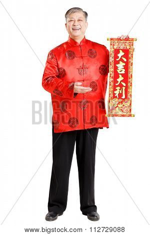 gesture of old Chinese man in mandarin with lucky goods before Chinese New Year(Chinese words means to wish everybody to have a lucky and wealthy life next year)