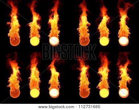 Sphere in fire. Many version.