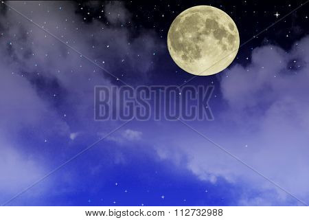 Beautiful starry sky with fool moon and clouds