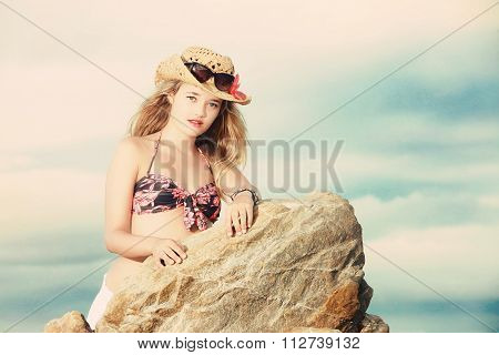Blonde Lady In Tropical Bikini Cowboy Hat And Sunglasses