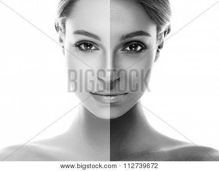 Woman Half Face Tan Beautiful Portrait Black And White