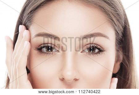 Beautiful Happy Young Woman Portrait Eyes Nose