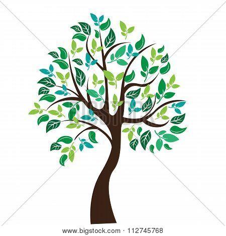 Vector illustration of tree on white background - Illustration
