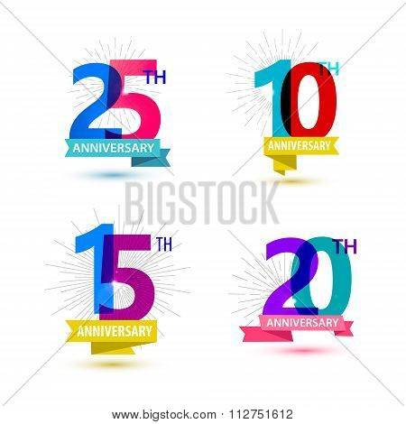Vector set of anniversary numbers design. 25, 10, 15, 20 icons, compositions with ribbons.