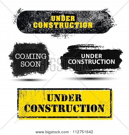 Vector set of grunge textured Under Construction and Coming Soon banners, frames, backgrounds for we
