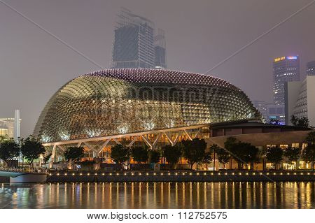 Singapore, Singapore - Circa September 2015: Durian-shaped Theatre Building At Esplanade,  Singapore