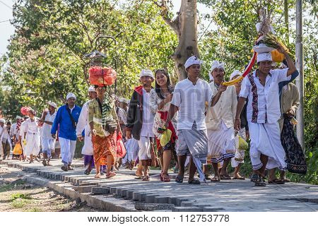 Village Of Besakih, Bali/indonesia - Circa October 2015: People Are Coming To Festival Ceremony In P