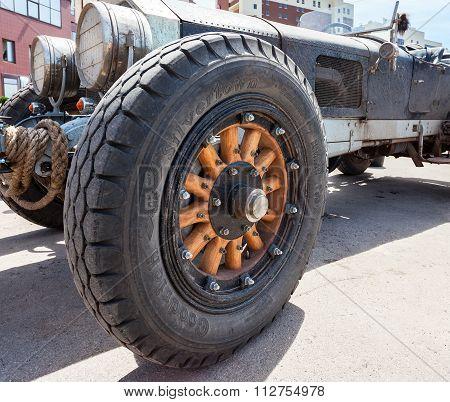 Wheel Of A Retro Car American La France Tourer 1917 Year