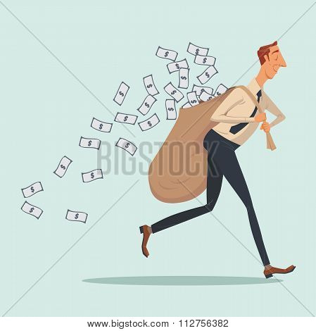 Businessman in casual carrying heavy money bag.