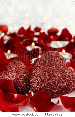 Valentines Day Hearts And Candles