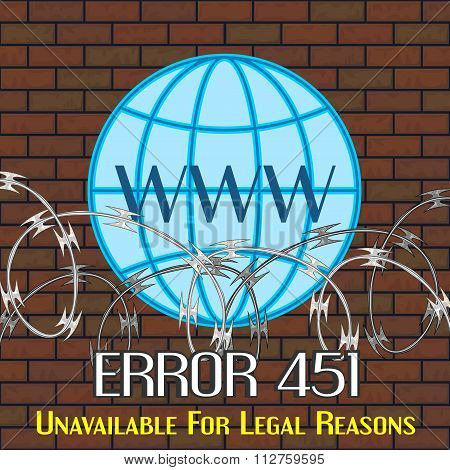 Error 451 Concept With Barbwire And Globe