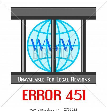 Error 451 Concept With Globe In Cage