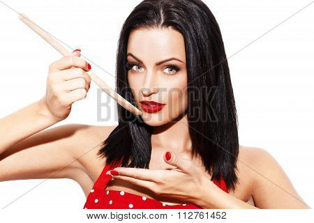 Sexy Woman Taste Meal By Wooden Spoon
