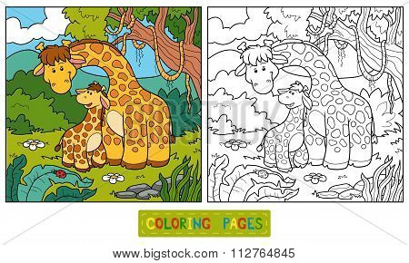 Coloring Book For Children (two Giraffes)