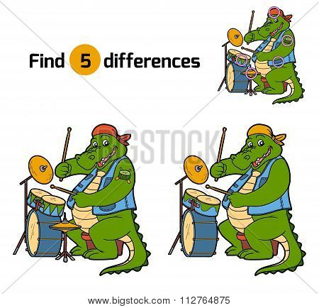 Find Differences, Game For Children (crocodile And Drum)