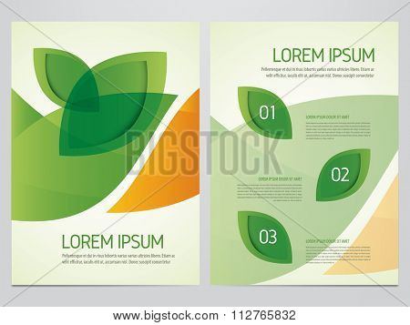 Brochure, annual report, flyer, magazine cover green and orange vector template. Modern green leaf, environment design.