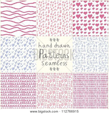Stock Vector hand drawn seamless patterns